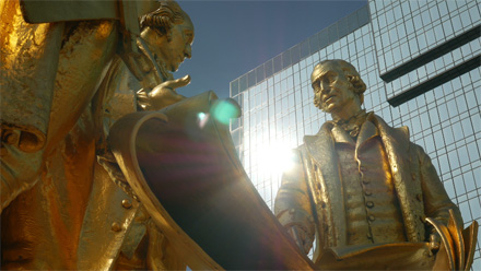 Statue Of Boulton, Watt And Murdoch In Birmingham, England.