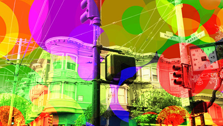 Haight Ashbury intersection with hallucinogenic colours.