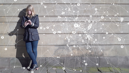 Woman with social network diagram.